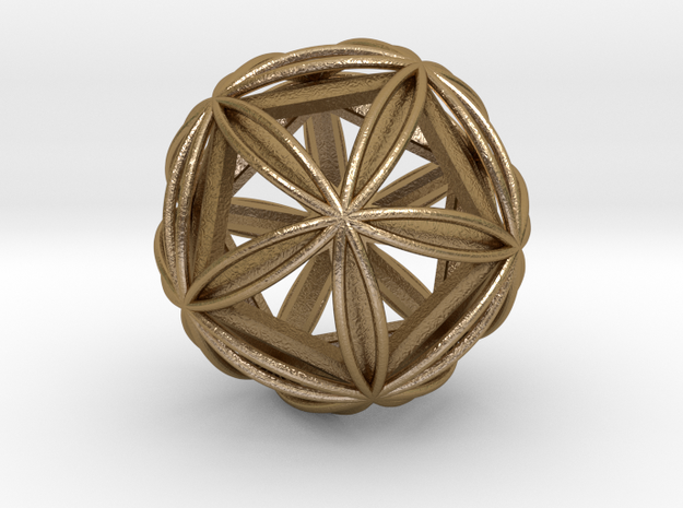 "Icosasphere w/ Nested Icosahedron 1.8"" in Polished Gold Steel"