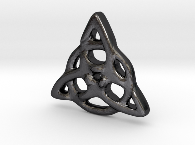 Triquetra Pendant in Polished and Bronzed Black Steel