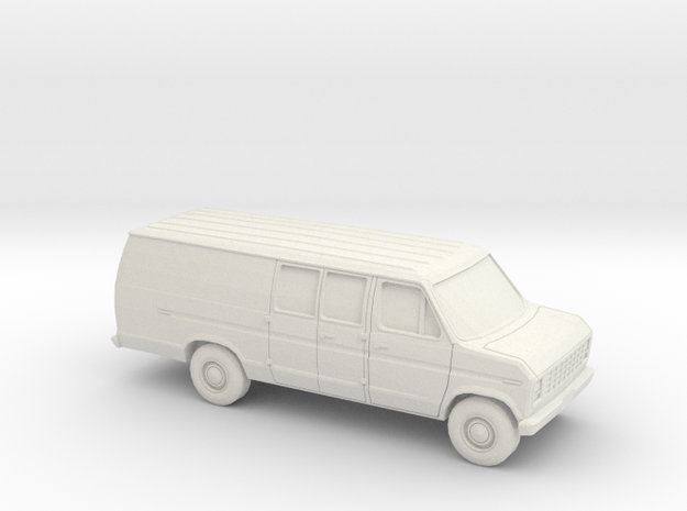 1/43 1975-91 Ford E-Series Delivery Van Extendet in White Natural Versatile Plastic