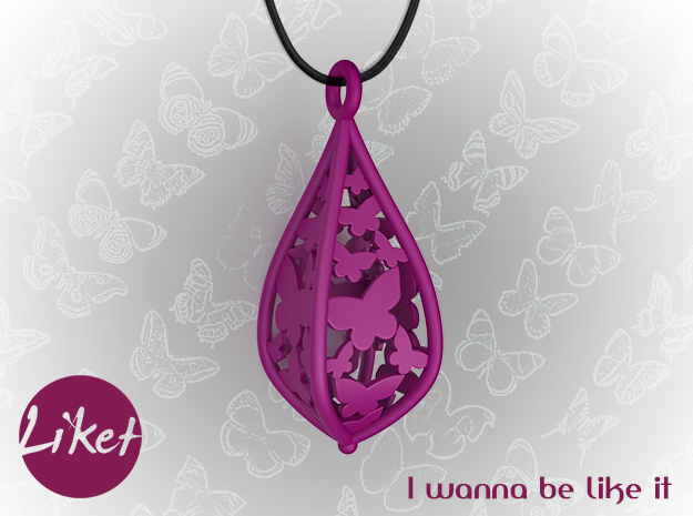 Butterfly freedom pendant in Purple Strong & Flexible Polished