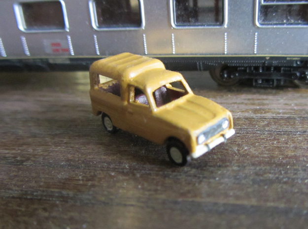Renault 4 van in 1:160 scale (Lot of 4 cars) 3d printed In Danish Postal service colors (Oldenborg-Gul) Pantone: 109. Hex: F9D616