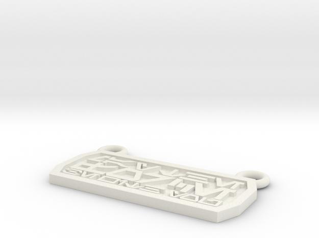 Aurebesh Pendant in White Natural Versatile Plastic