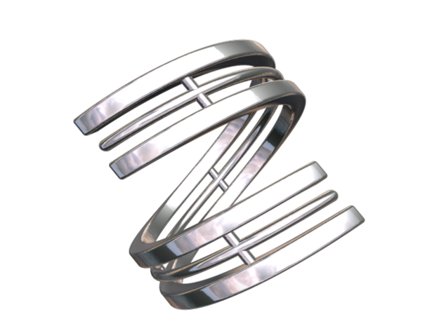 Bars & Wire Ring Size 6 3d printed CGI render of the ring from the top.