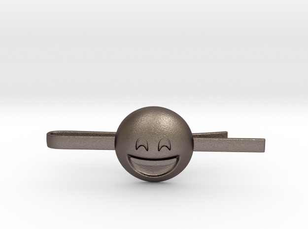 Smiling Eyes Tie Clip in Polished Bronzed Silver Steel