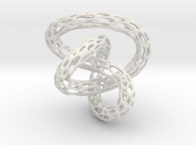 Infinite Knot - Voronoi Pendant in White Natural Versatile Plastic