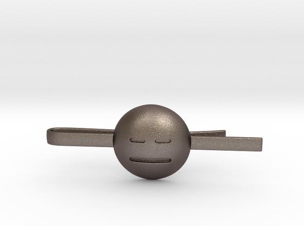 Expressionless Tie Clip in Polished Bronzed Silver Steel