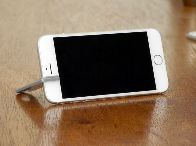 iPhone landscape stand keychain in Polished Metallic Plastic