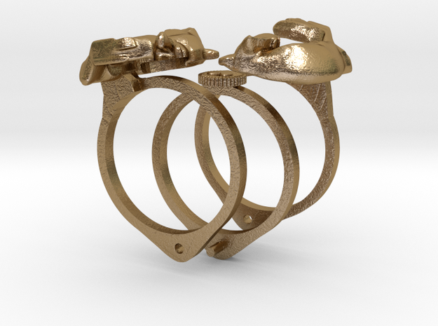 Fox Gimmal Ring in Polished Gold Steel