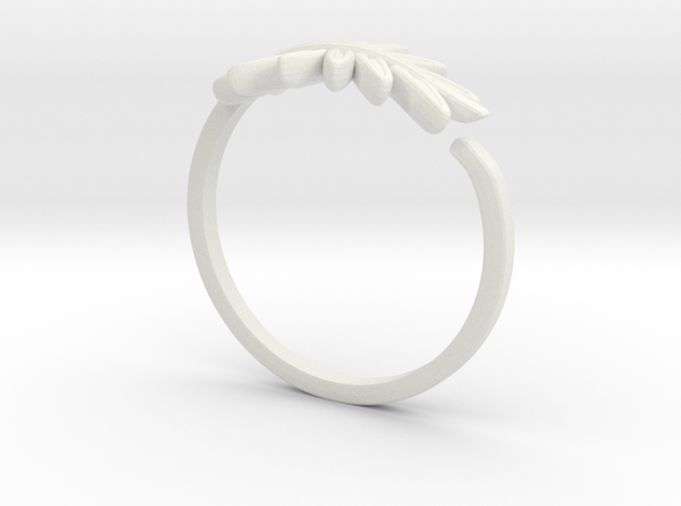 Friendship Leaf Rings in White Natural Versatile Plastic