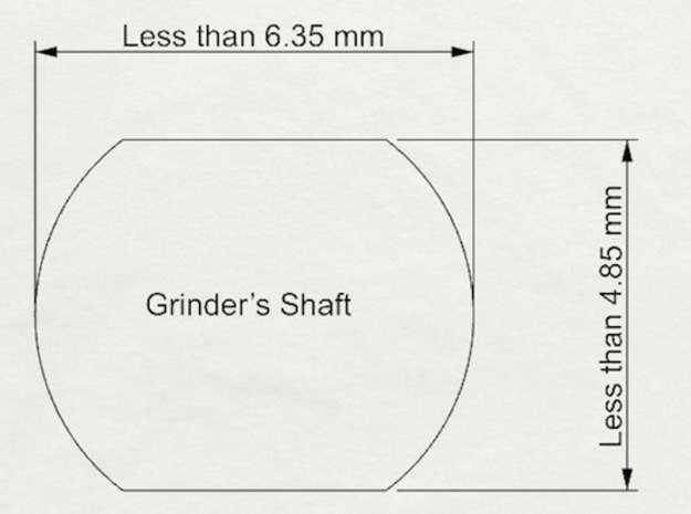 Coffee Grinder Bit for Drill Driver CDR-S 3d printed The available size of rounded rectangle shafts of coffee grinders