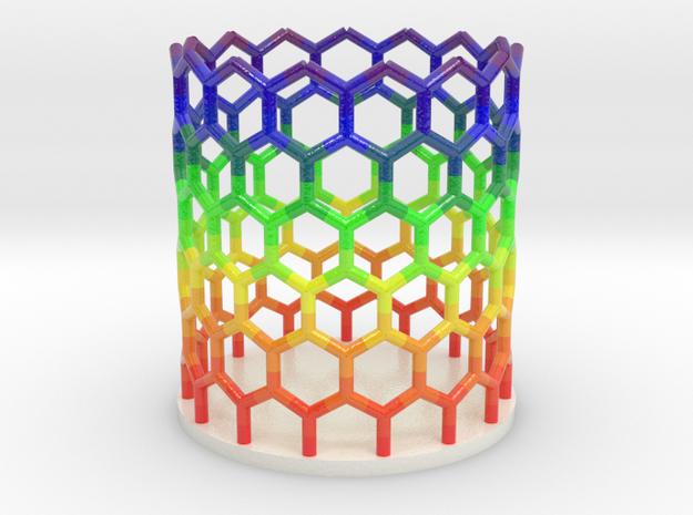 Rainbow Nanotube Pen Holder in Coated Full Color Sandstone