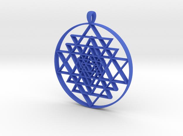 Sri-Yantra in Blue Processed Versatile Plastic