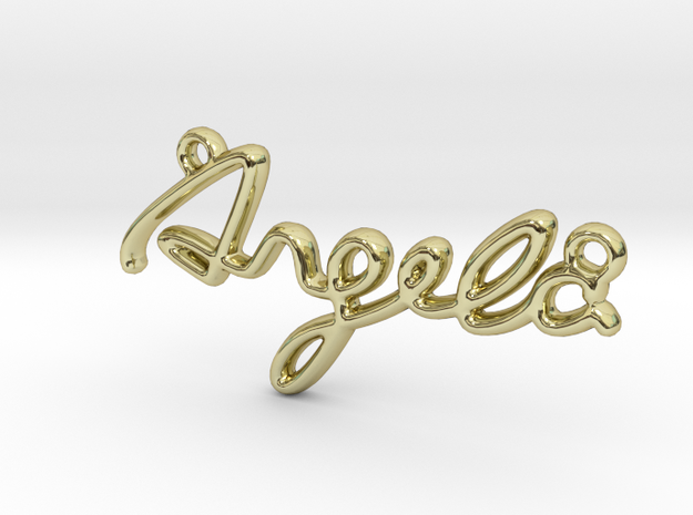 ANGELA Script First Name Pendant in 18k Gold Plated Brass