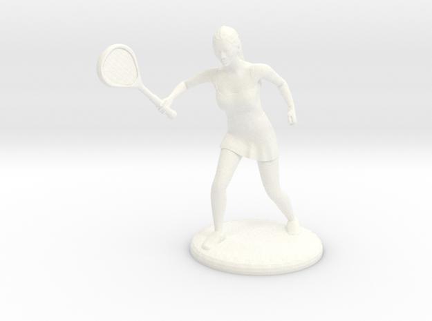 Tennis Girl in White Processed Versatile Plastic