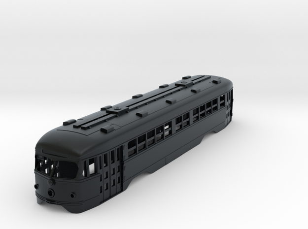 N Scale 1:160 MUNI Double-End PCC Body in Black Hi-Def Acrylate