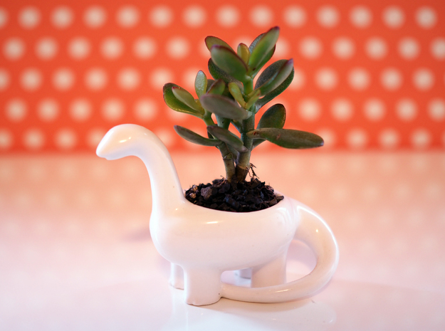 Dinosaur Candleholder Planter in Gloss White Porcelain