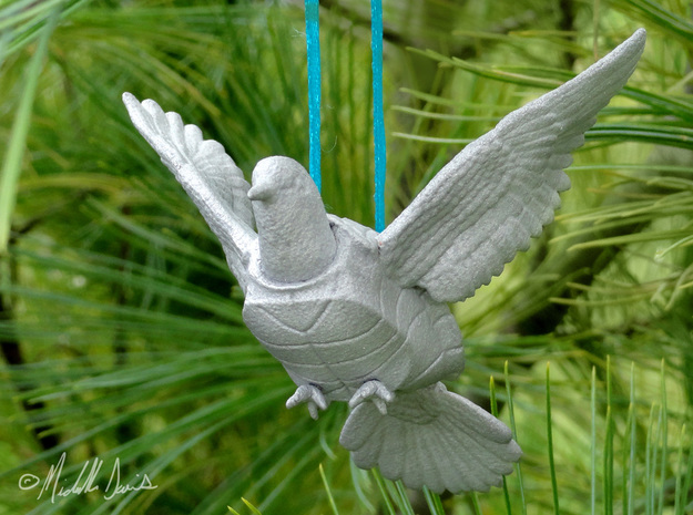 (Mythical) Turtle Dove Sculpture and Ornament in Raw Aluminum