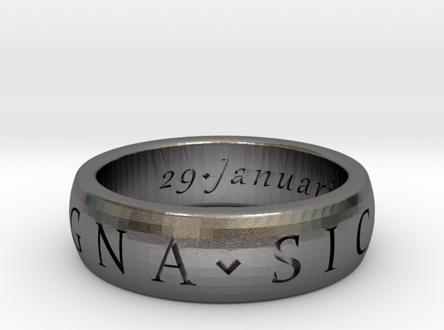 Sir Francis Drake, Sic Parvis Magna Ring Size 7.5 in Polished Nickel Steel
