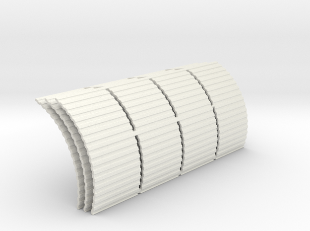 Quonset Corrugation 4ft Panels - 72:1 Scale in White Natural Versatile Plastic