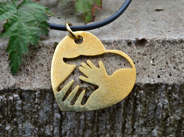 Mother child holding hands in Polished Brass (Interlocking Parts)
