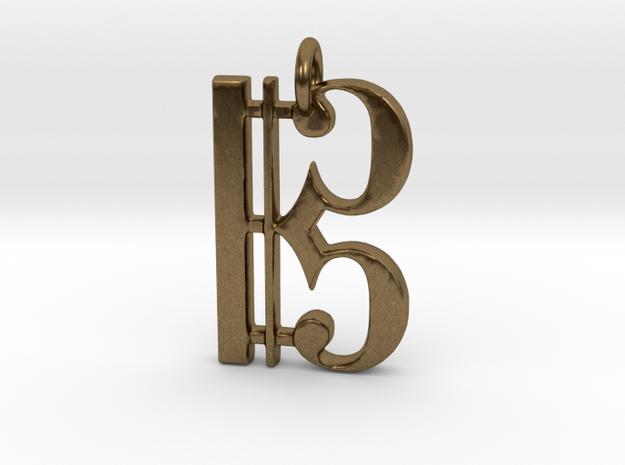 C Clef Pendant 1 Inch in Raw Bronze