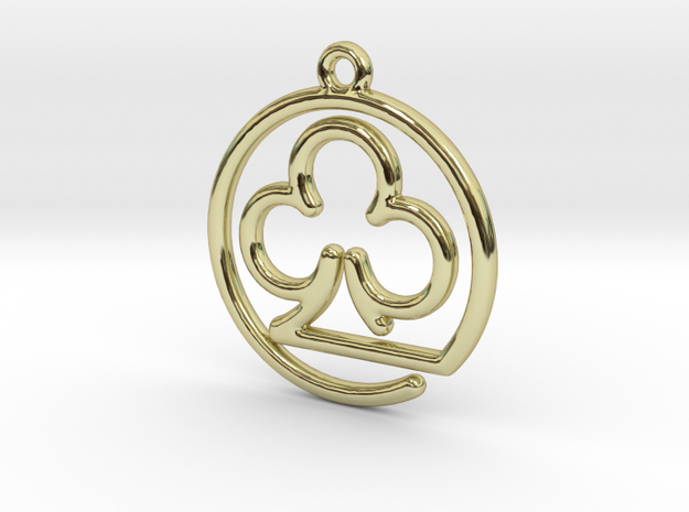 Club Card Game continuous line Pendant in 18k Gold Plated Brass