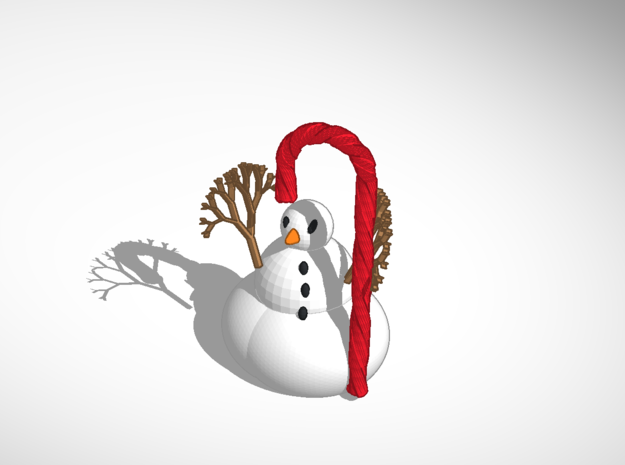 Cute Candy Cane Snowmen 3d printed https://tinkercad.com/things/jtCfd8Y0m4M-the-snowman-candy-cane-no-tophat tinker it here