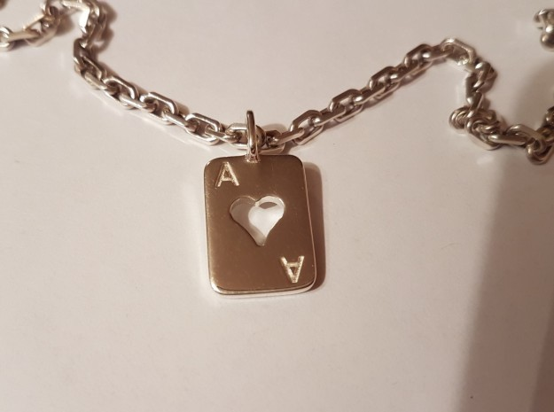 Ace of Hearts Card in Polished Silver