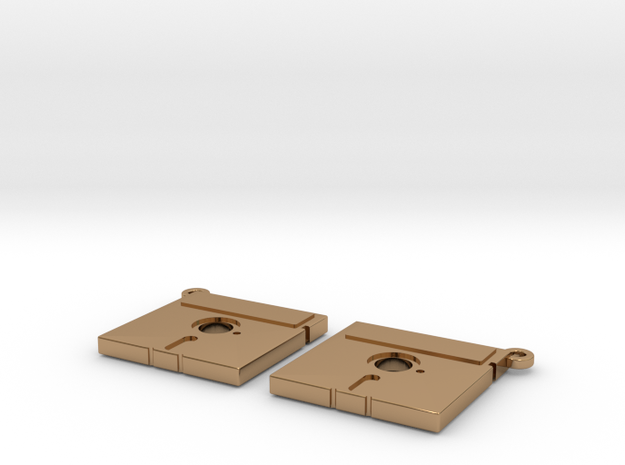 Floppy Earrings - 5inch - Hack the planet in Polished Brass