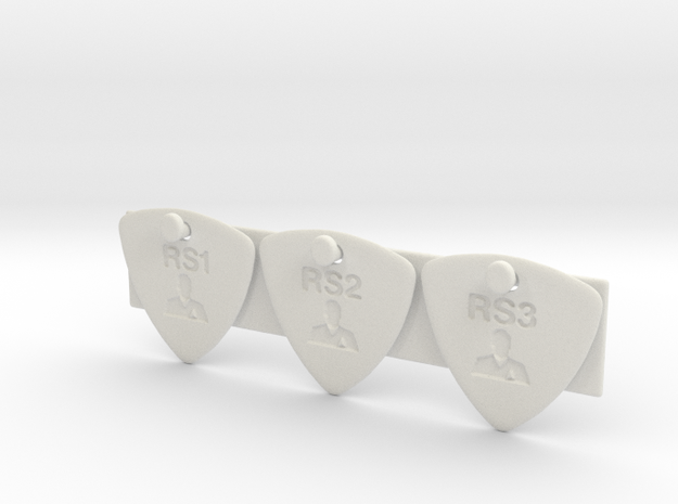 test guitar picks style 0001 1.4mm engrave 3x in White Natural Versatile Plastic