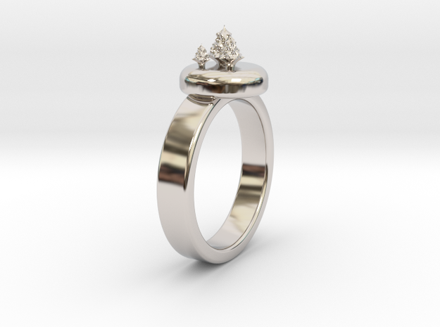 ChristmasTrees Ring Ø0.677 inch/Ø17.20 Mm in Rhodium Plated Brass: 7 / 54