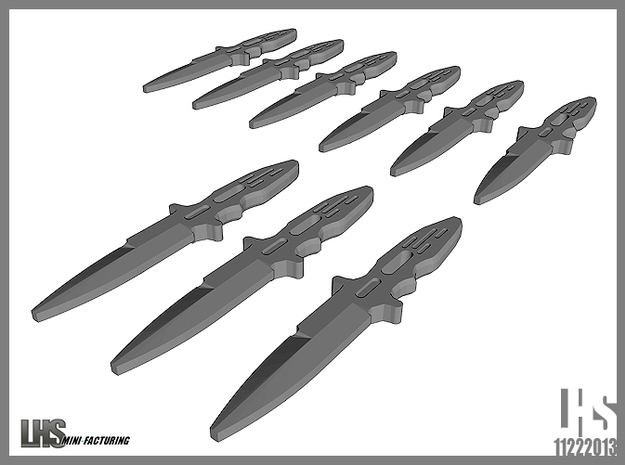 1/6 scale Elite Forces Boot Knives X9 in White Natural Versatile Plastic