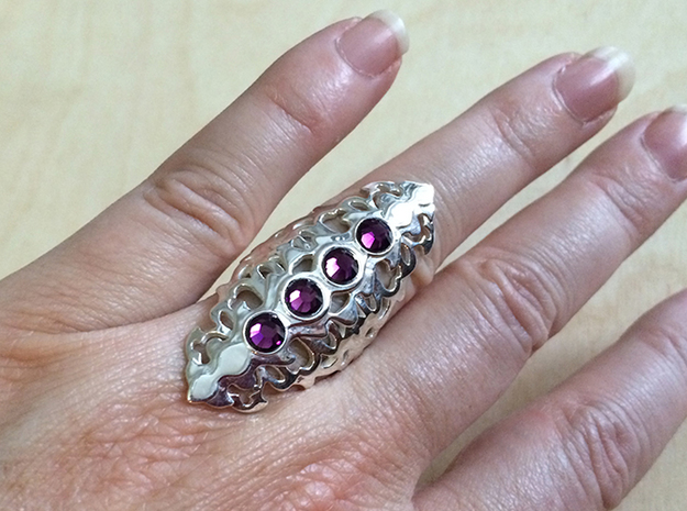 BlakOpal Gothic Filligree Ring - size 8 3d printed Add your own Swarovski gems