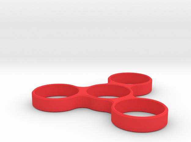 TRIPLE SPINNER EDC FIDGET in Red Processed Versatile Plastic
