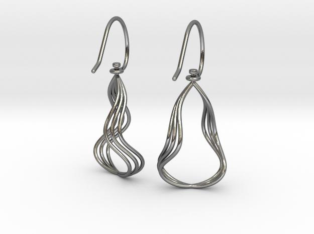 Gentle Flow - Precious Metal Earrings in Polished Silver (Interlocking Parts)