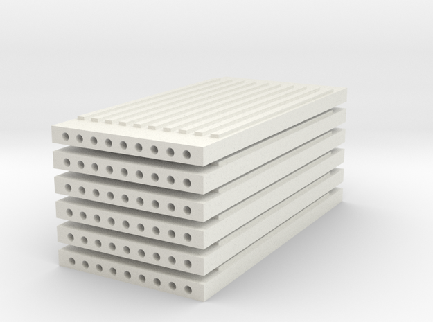 'N Scale' - (6) Precast Panel - Ribbed - 20'x10'x1 in White Natural Versatile Plastic