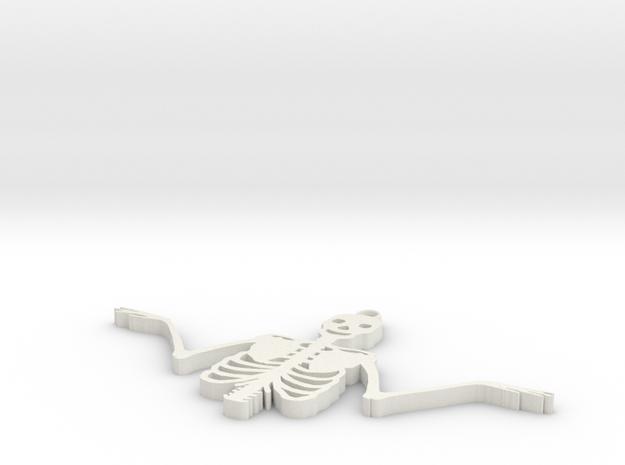 Spooky Skeleton Pendant in White Strong & Flexible