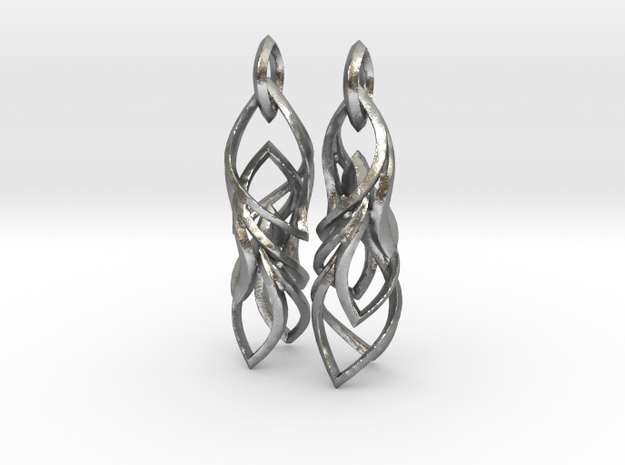 Peifeather Earrings in Interlocking Raw Silver
