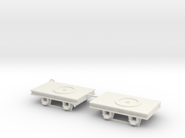 1:43,5 / 0 scale Decauville bogies (pair) in White Natural Versatile Plastic