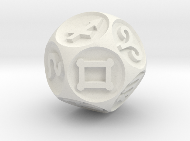 Dice Zodiac v3 in White Strong & Flexible: Extra Small