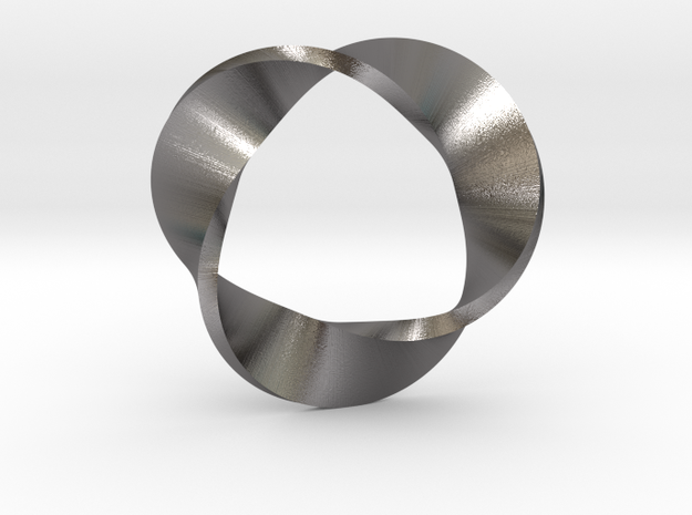 Mobius Strip three twists in Polished Nickel Steel: Medium