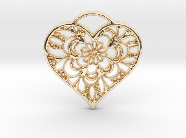 Heart Lace in 14k Gold Plated Brass