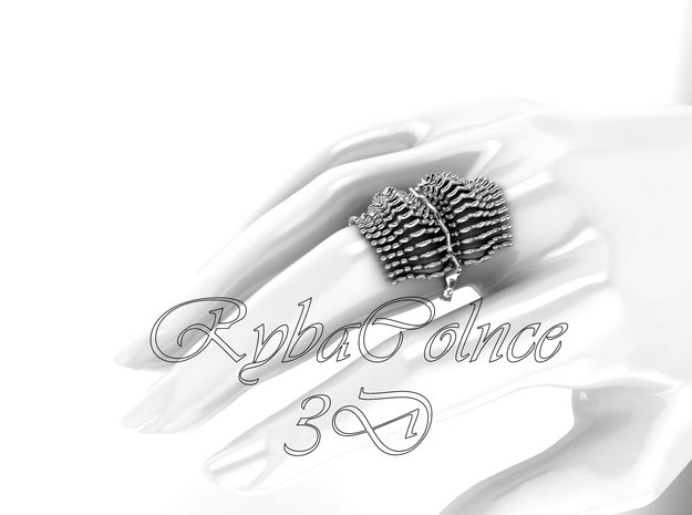 Ring The Bones / size 10GK 5US ( 16.1 mm) in Polished Silver
