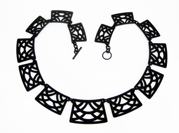 Art Deco Statement Necklace in Black Strong & Flexible