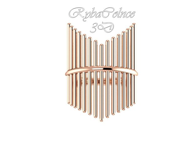Ring The Design 2 / size 10GK 5US ( 16.1 mm) in 14k Rose Gold Plated Brass