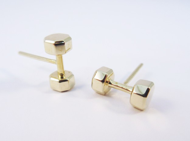 Dumbbells Earrings in Polished Brass