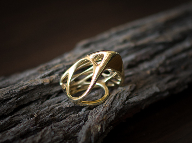 Butterfly Ring [ Size 5 ] 3d printed Material : Polished Brass