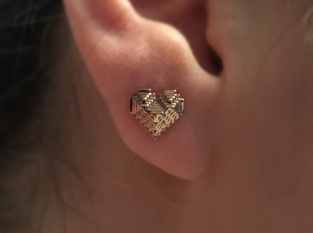 8bit Heart Posted Studs in 14k Rose Gold