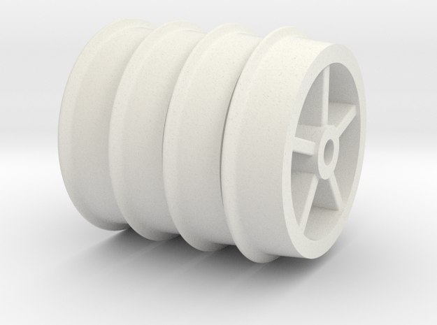 Tub Wheels Set in White Natural Versatile Plastic