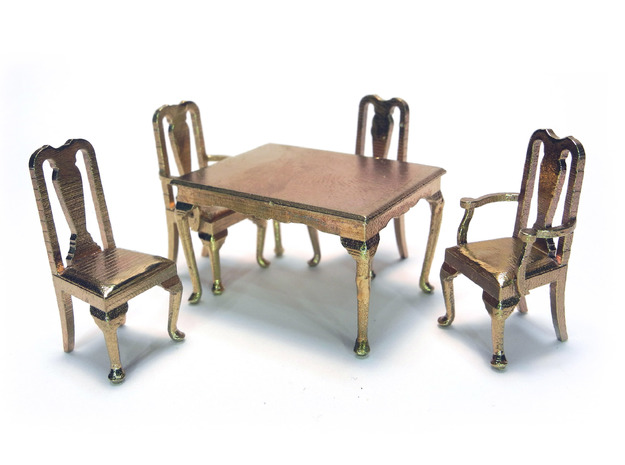 1:48 Queen Anne Dining Table 3d printed Shown with Queen Anne Chairs, sold separately
